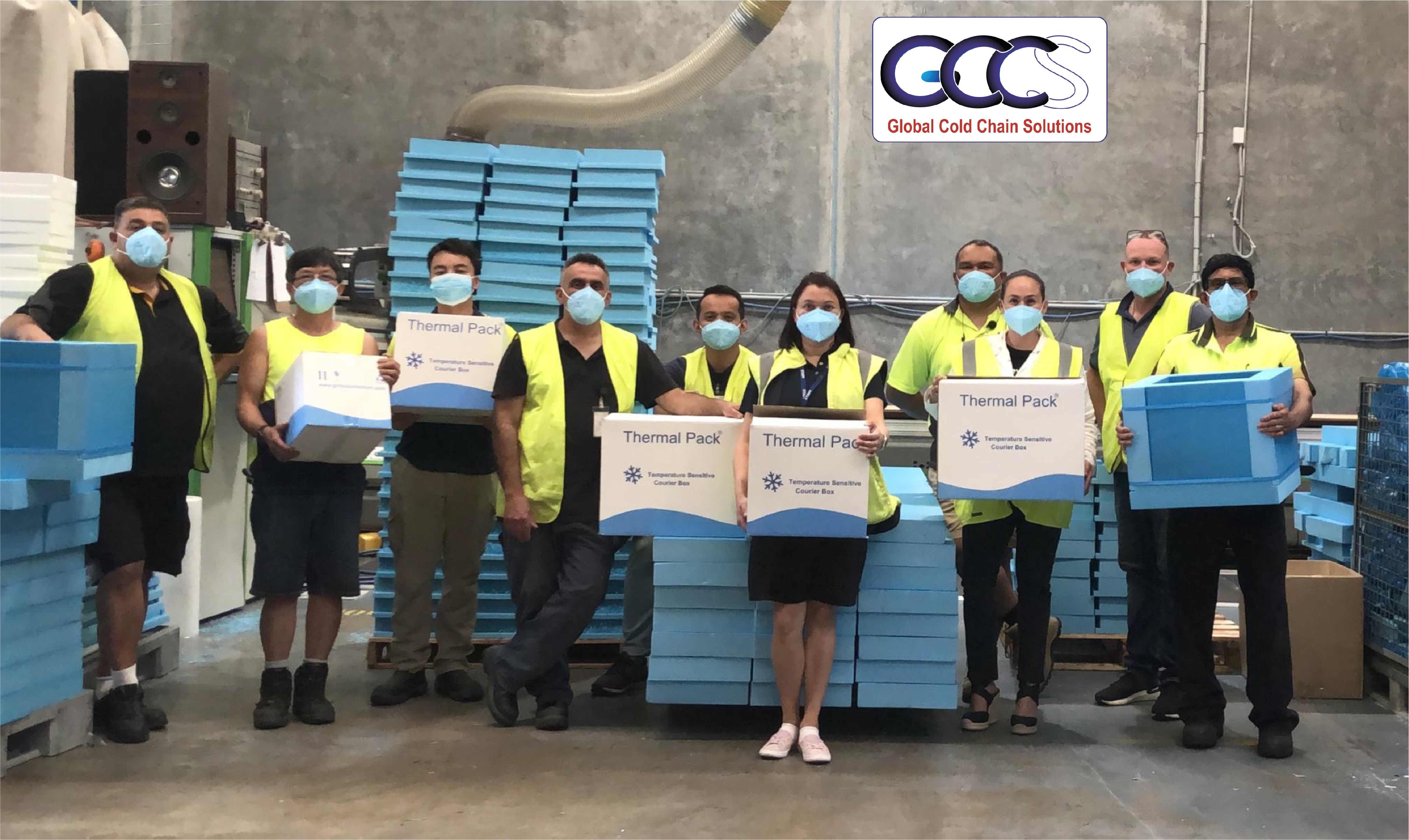 Australian Global Cold Chain Solutions Team holding the first batch of vaccine shippers. Contact us for information.